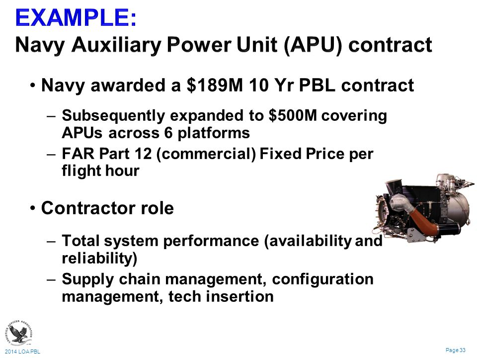 EXAMPLE: Navy Auxiliary Power Unit (APU) contract