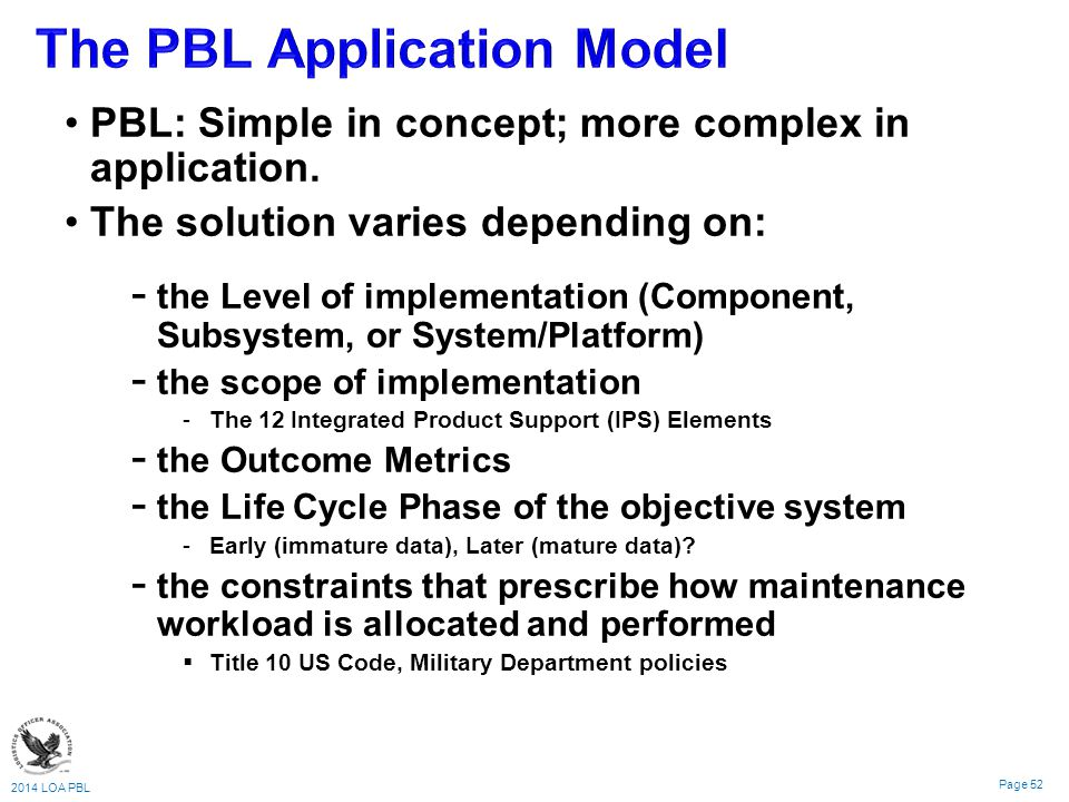 The PBL Application Model