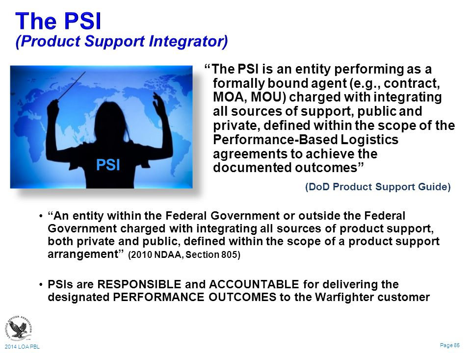 The PSI (Product Support Integrator)