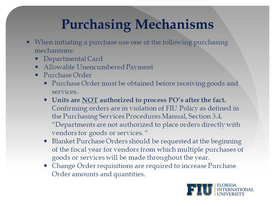 Purchasing Mechanisms