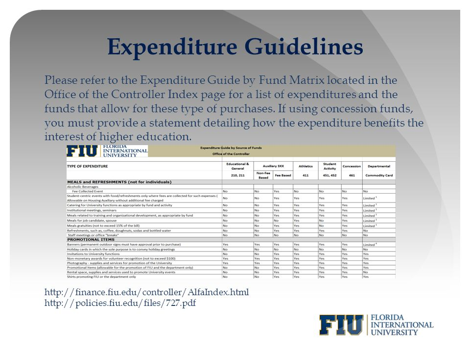 Expenditure Guidelines