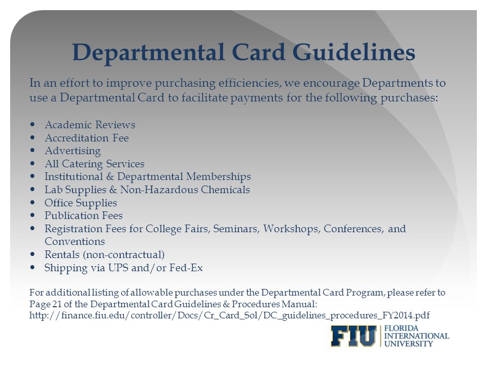 Departmental Card Guidelines