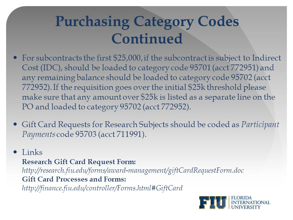 Purchasing Category Codes Continued