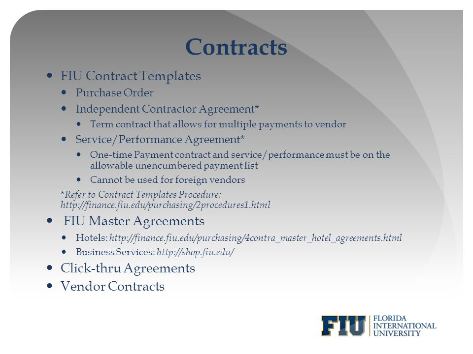 Contracts FIU Contract Templates FIU Master Agreements
