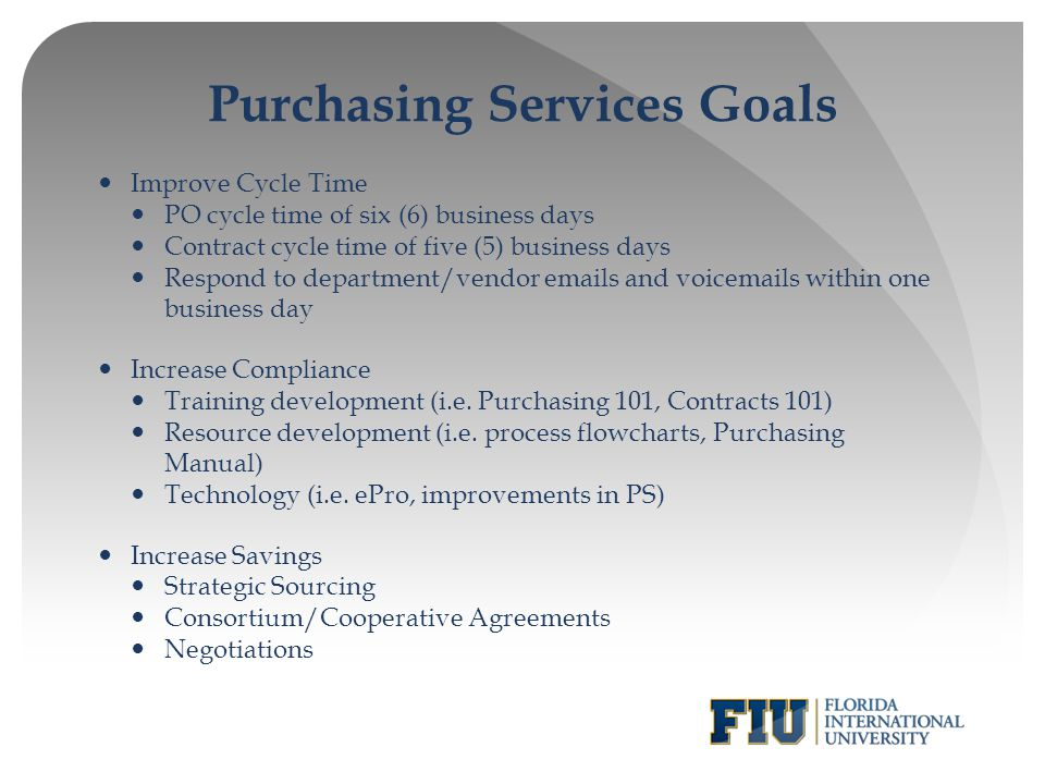 Purchasing Services Goals