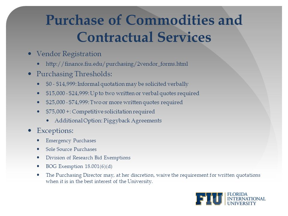 Purchase of Commodities and Contractual Services