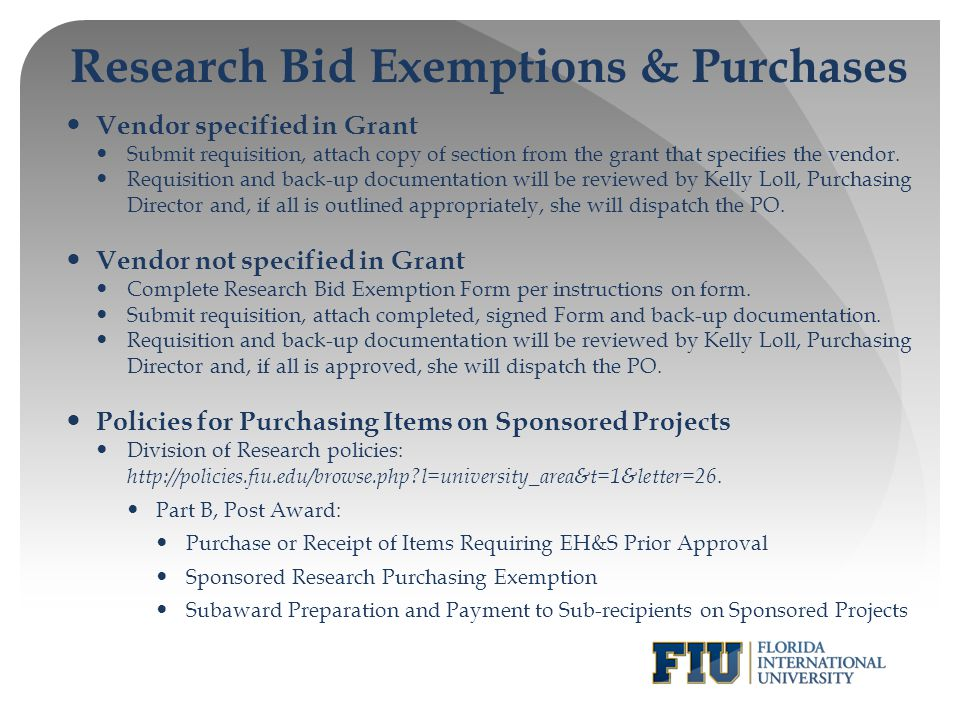 Research Bid Exemptions & Purchases
