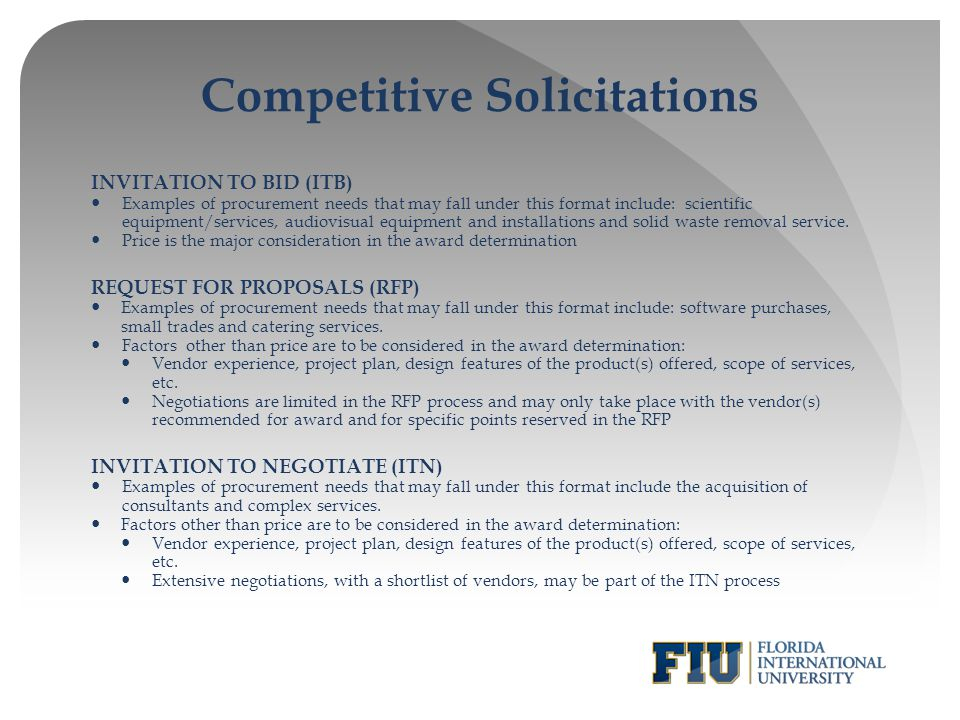 Competitive Solicitations