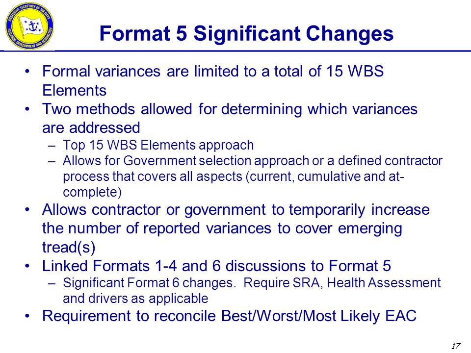 Format 5 Significant Changes