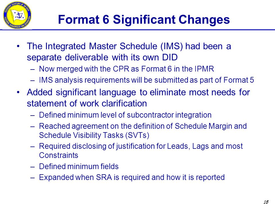 Format 6 Significant Changes