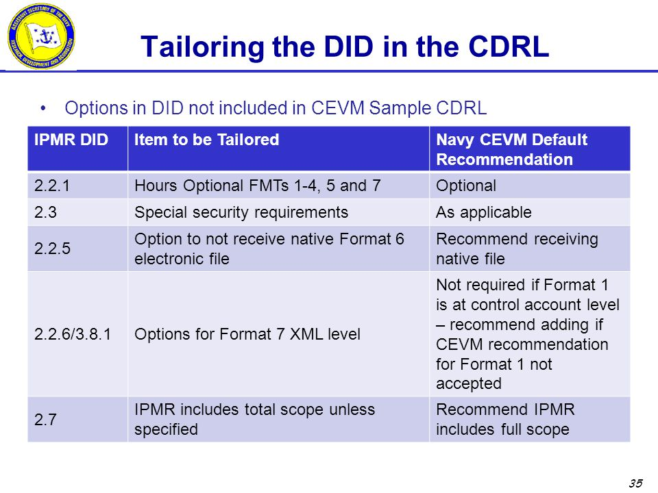 Tailoring the DID in the CDRL