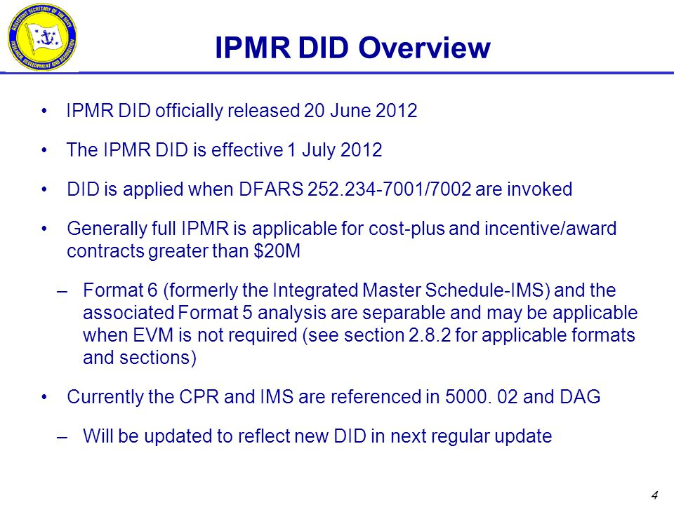 IPMR DID Overview IPMR DID officially released 20 June 2012