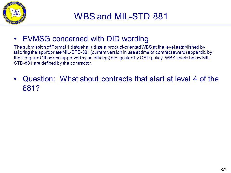 WBS and MIL-STD 881 EVMSG concerned with DID wording