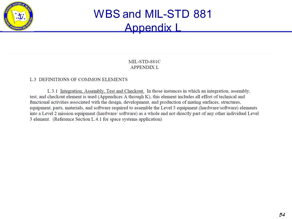 WBS and MIL-STD 881 Appendix L