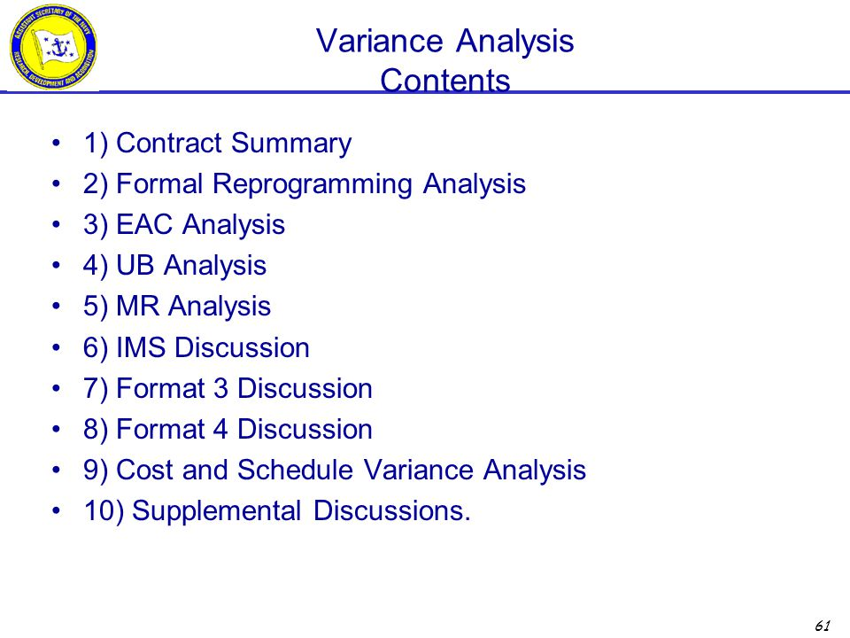 Variance Analysis Contents