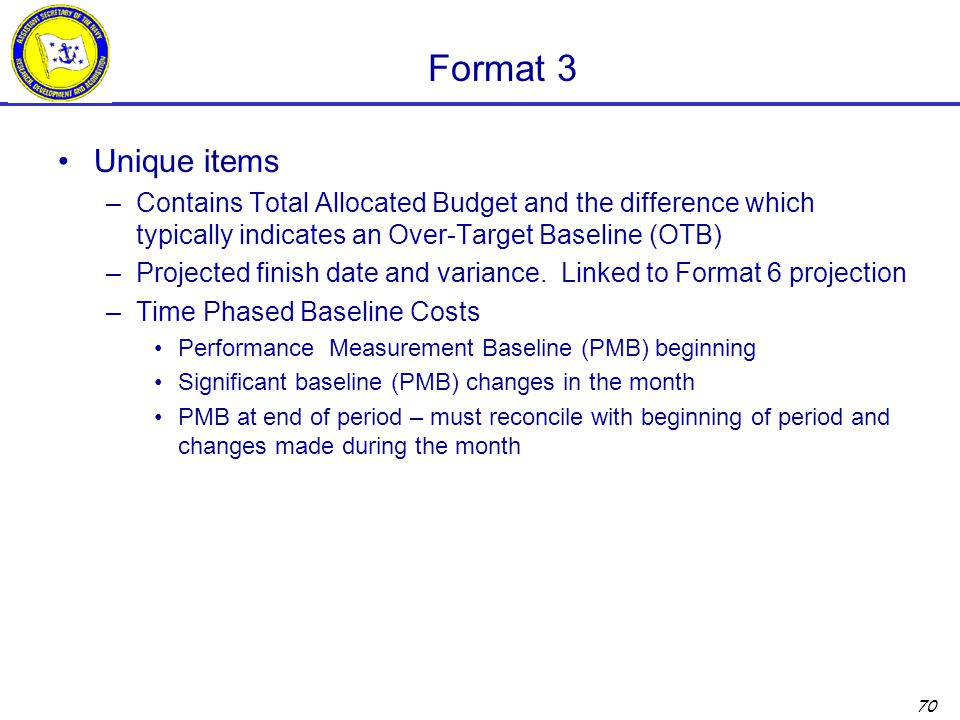 Format 3 Unique items. Contains Total Allocated Budget and the difference which typically indicates an Over-Target Baseline (OTB)