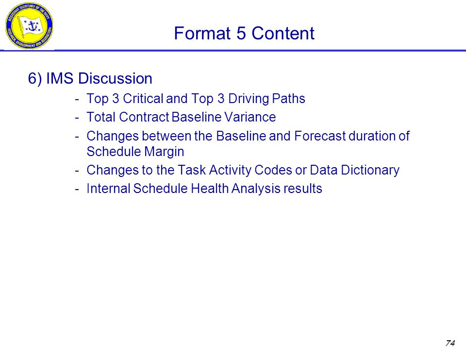 Format 5 Content 6) IMS Discussion