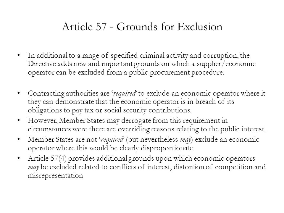 Article 57 - Grounds for Exclusion
