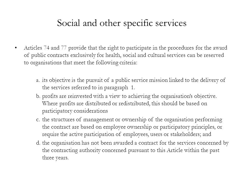 Social and other specific services