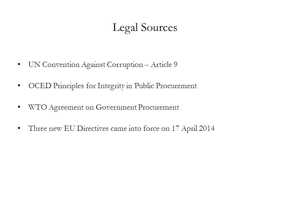 Legal Sources UN Convention Against Corruption – Article 9