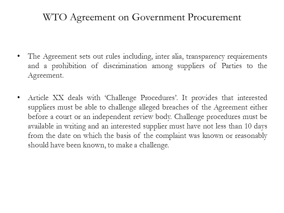 WTO Agreement on Government Procurement