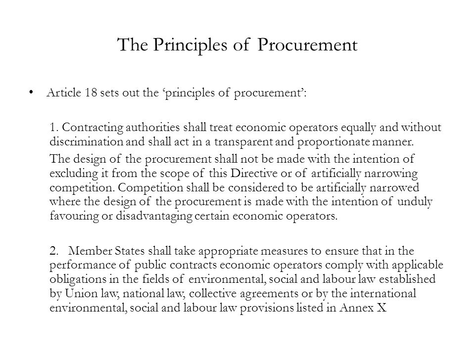 The Principles of Procurement