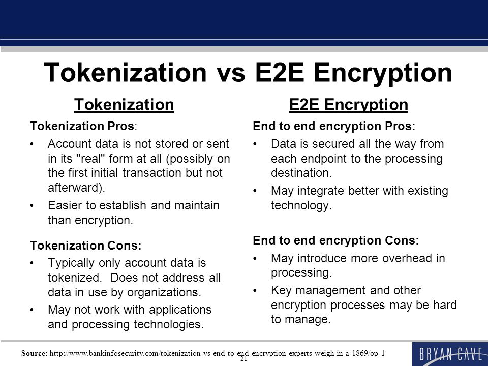Tokenization vs E2E Encryption