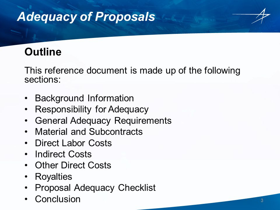 Adequacy of Proposals Outline