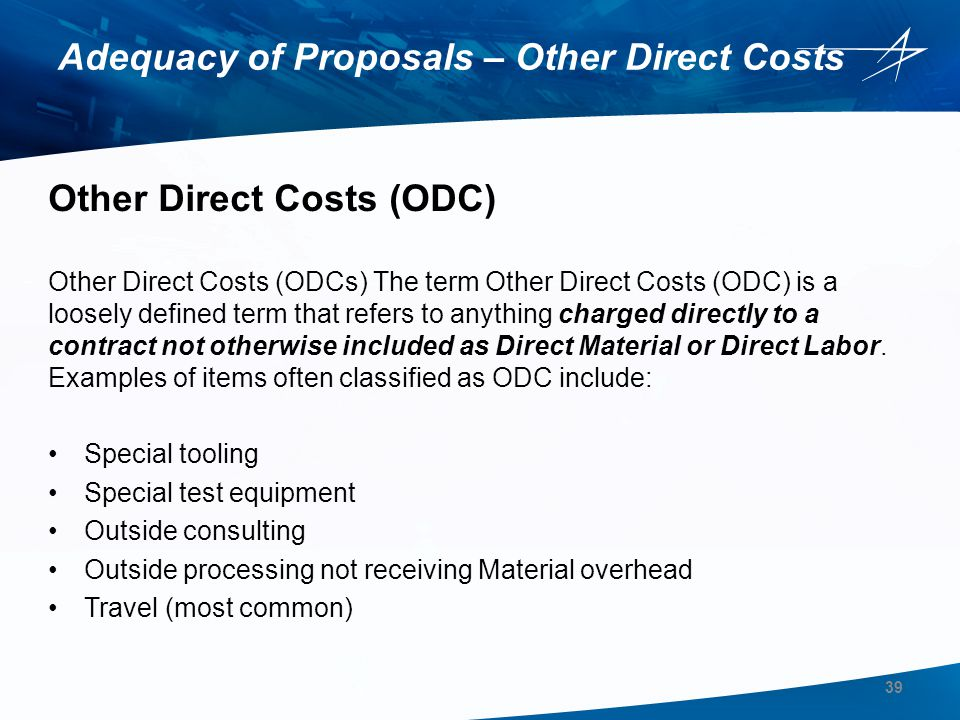 Adequacy of Proposals – Other Direct Costs