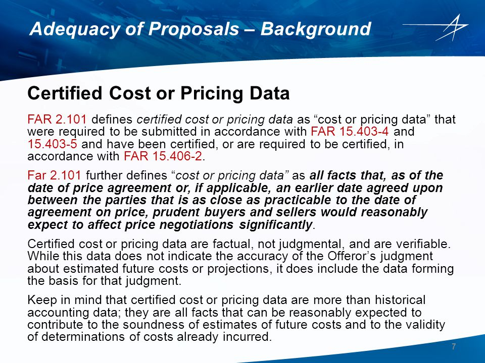 Adequacy of Proposals – Background