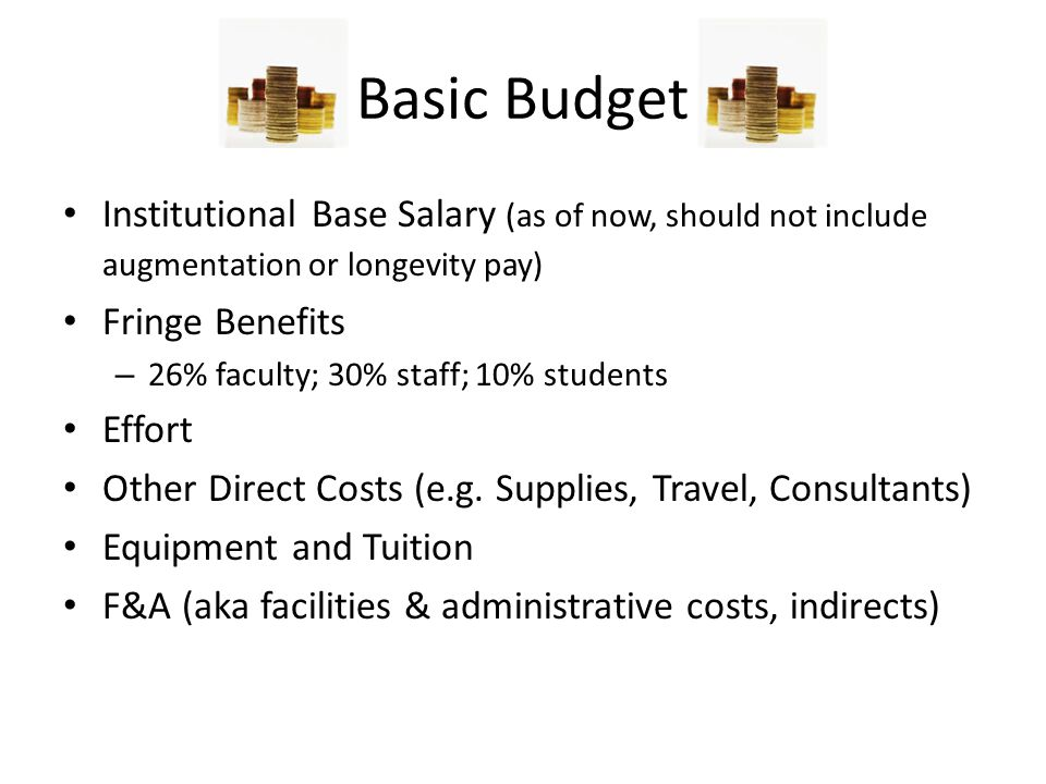 Basic Budget Institutional Base Salary (as of now, should not include augmentation or longevity pay)