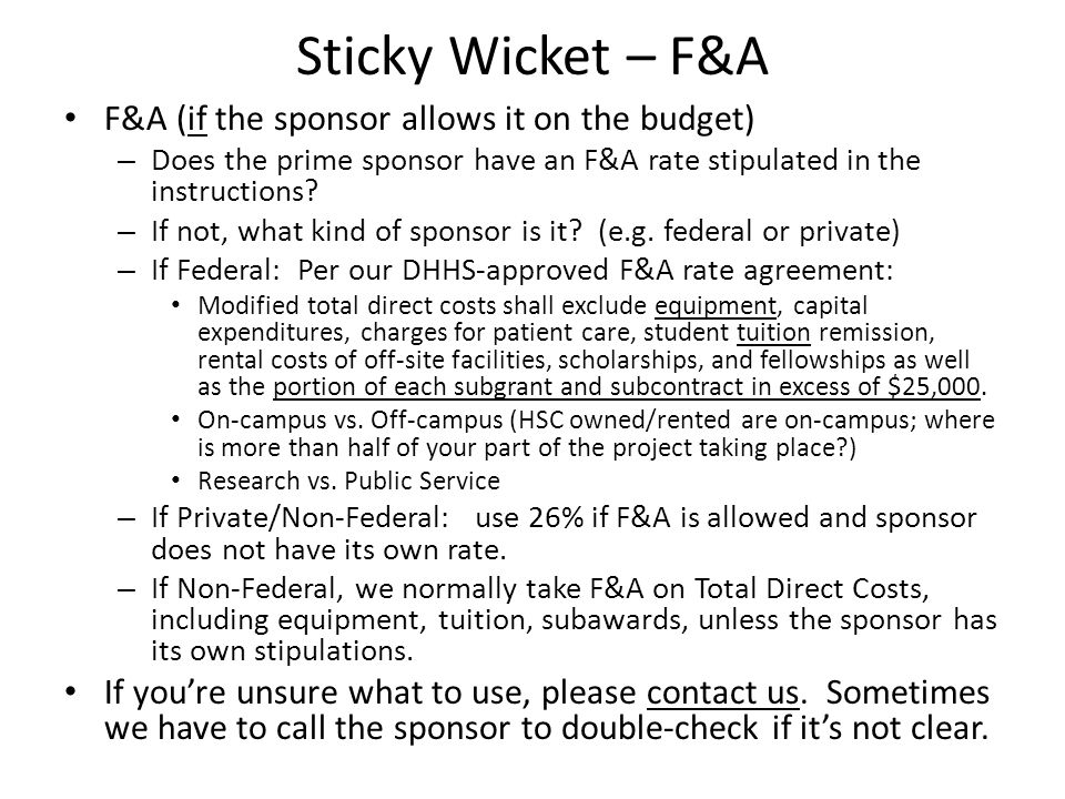 Sticky Wicket – F&A F&A (if the sponsor allows it on the budget)