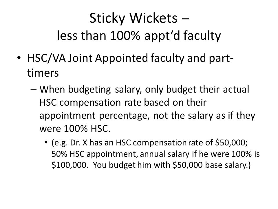 Sticky Wickets – less than 100% appt'd faculty