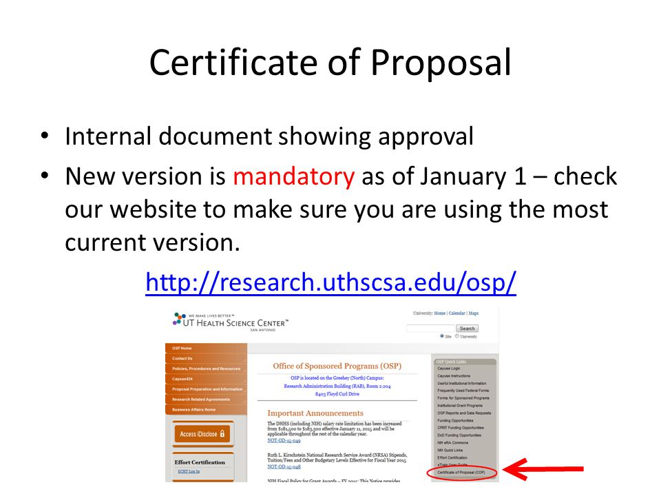 Certificate of Proposal