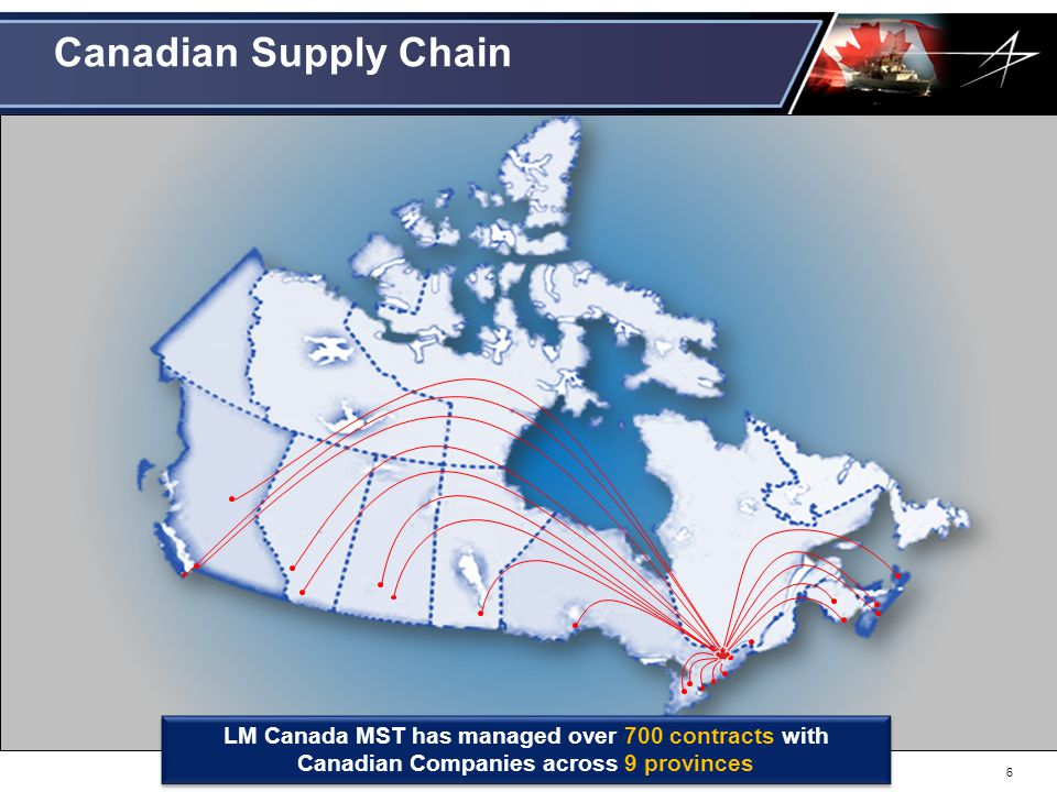 Canadian Supply Chain LM Canada MST has managed over 700 contracts with Canadian Companies across 9 provinces.