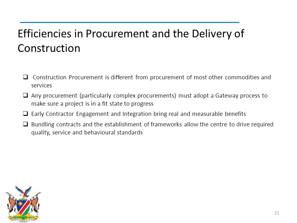 Efficiencies in Procurement and the Delivery of Construction