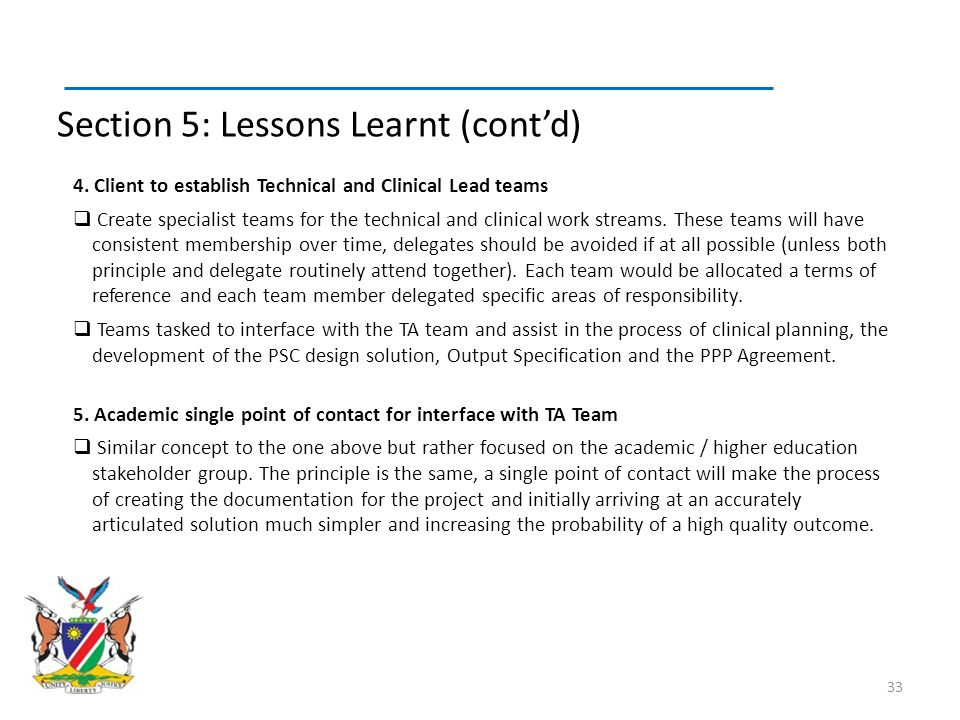 Section 5: Lessons Learnt (cont'd)