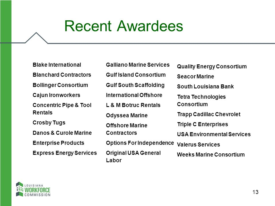 Recent Awardees Quality Energy Consortium Seacor Marine