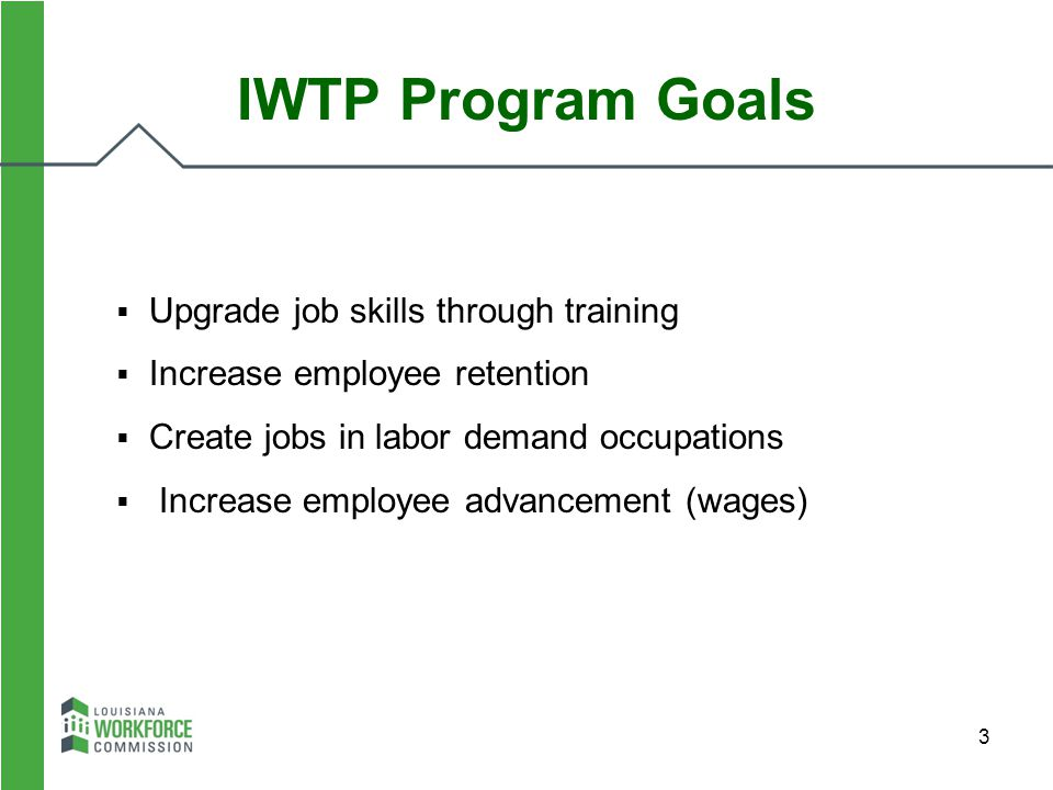 IWTP Program Goals Upgrade job skills through training