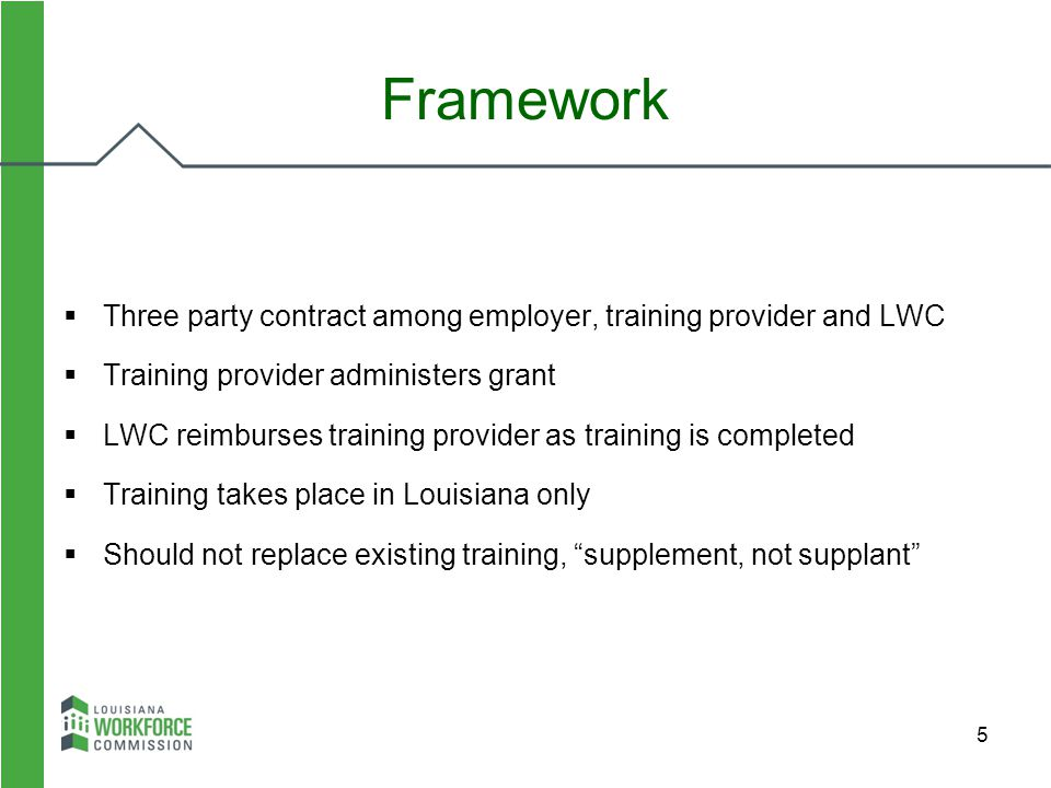 Framework Three party contract among employer, training provider and LWC. Training provider administers grant.