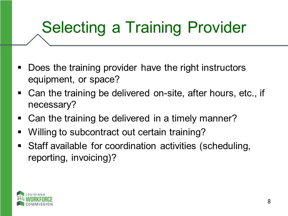 Selecting a Training Provider
