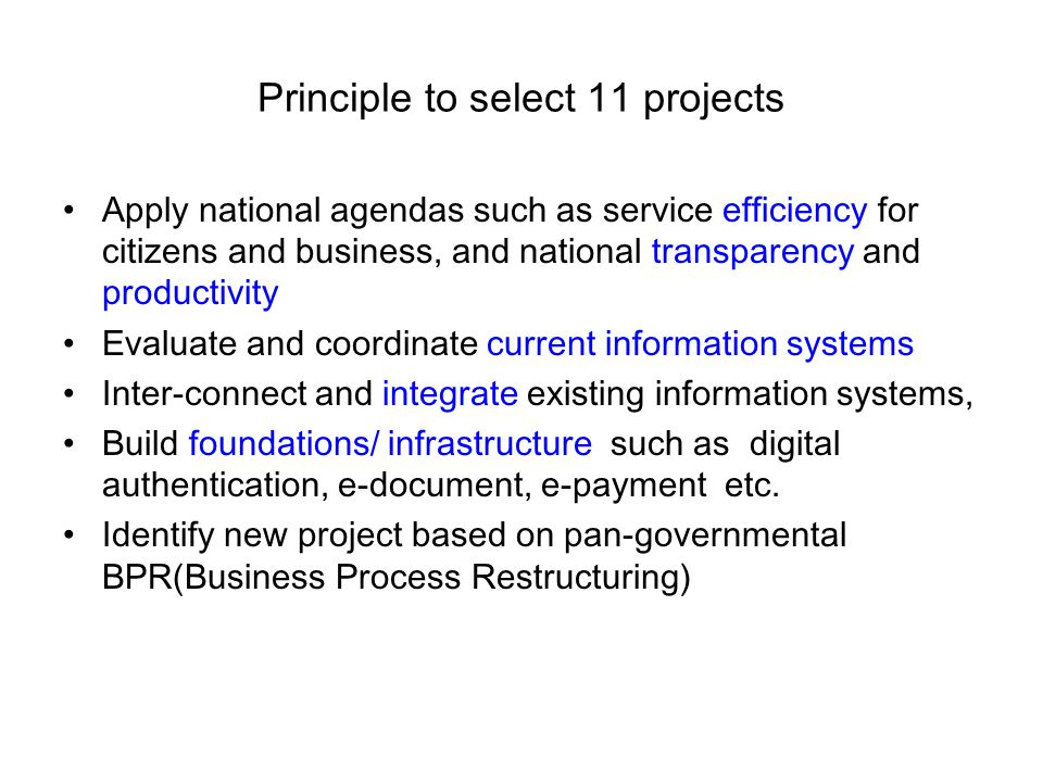 Principle to select 11 projects