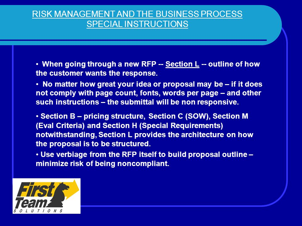RISK MANAGEMENT AND THE BUSINESS PROCESS SPECIAL INSTRUCTIONS