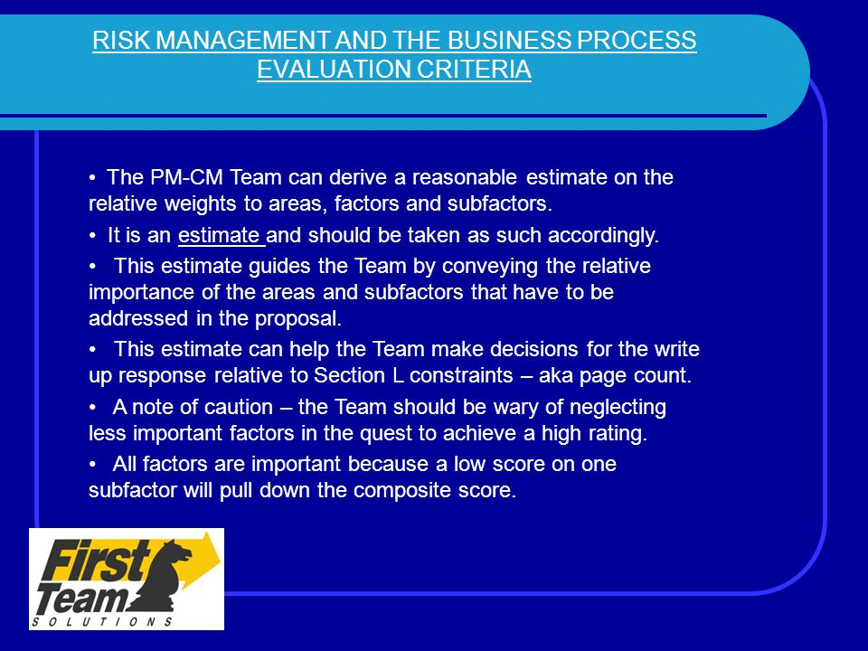 RISK MANAGEMENT AND THE BUSINESS PROCESS EVALUATION CRITERIA
