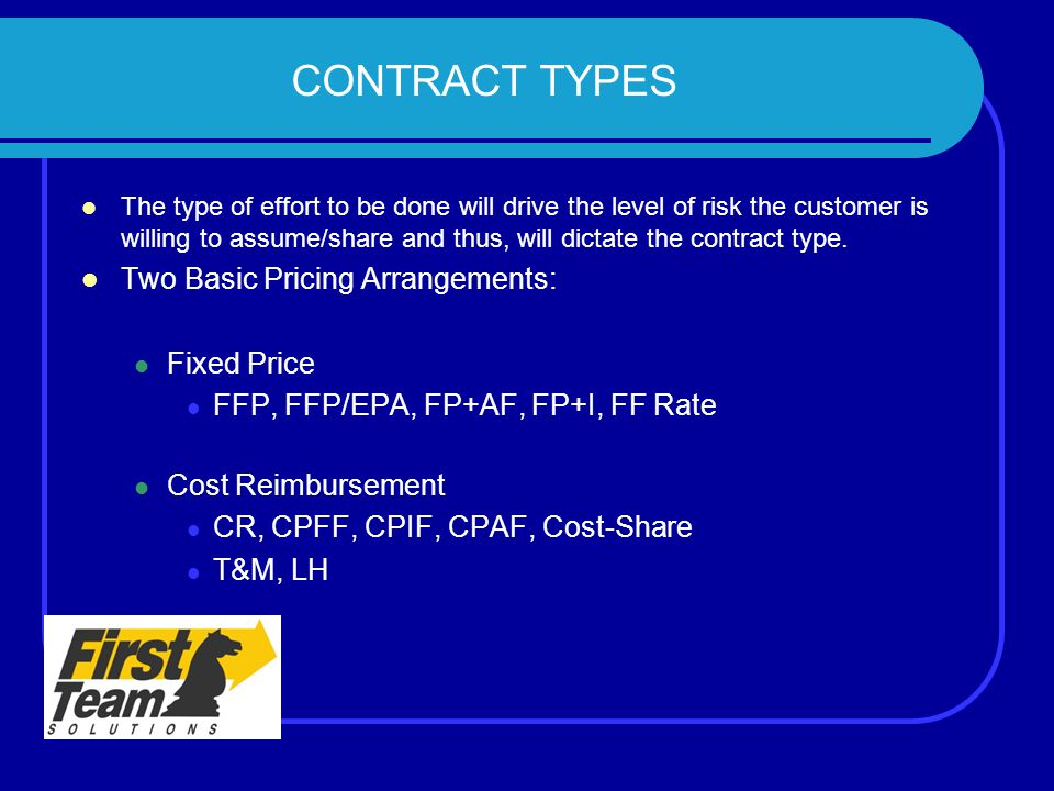 CONTRACT TYPES Two Basic Pricing Arrangements: Fixed Price