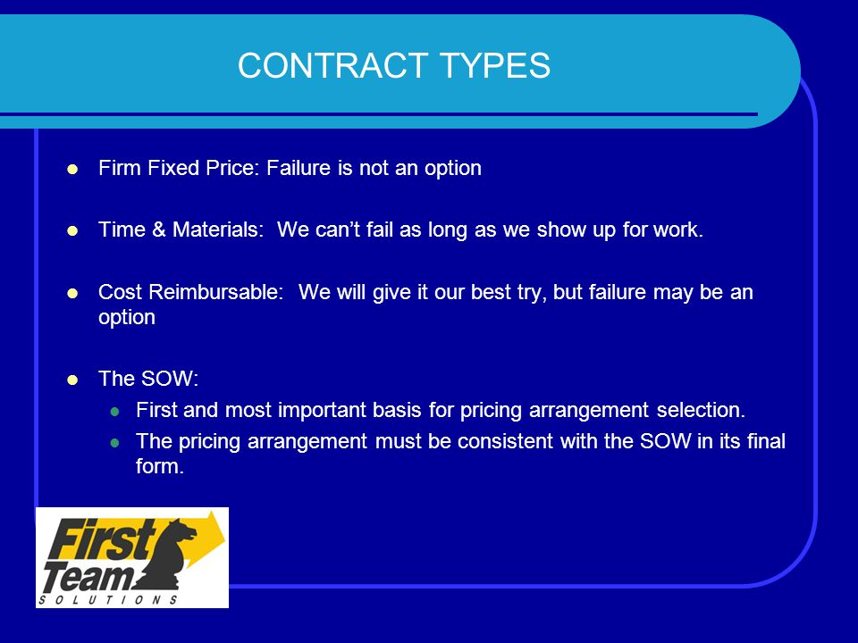 CONTRACT TYPES Firm Fixed Price: Failure is not an option