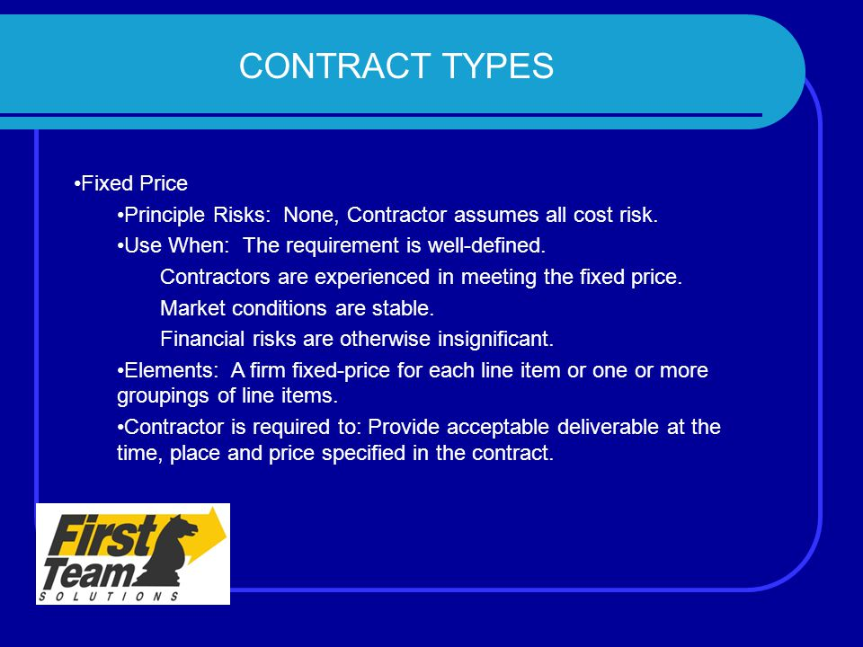 CONTRACT TYPES Fixed Price