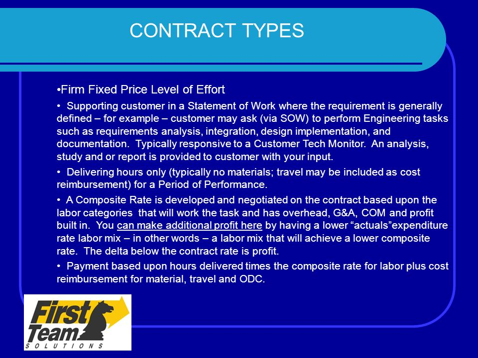 CONTRACT TYPES Firm Fixed Price Level of Effort