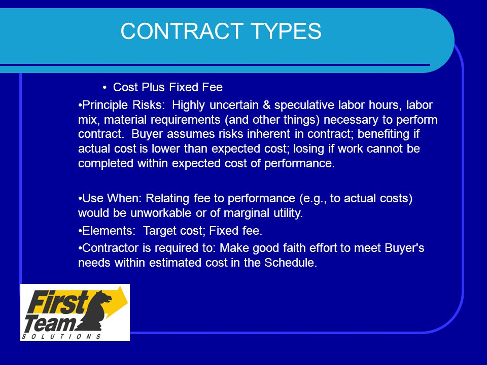 The program management contract management team ppt for Cost plus construction contract