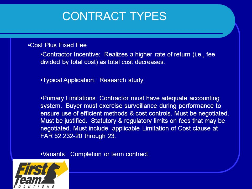 The program management contract management team ppt for Cost plus contract example